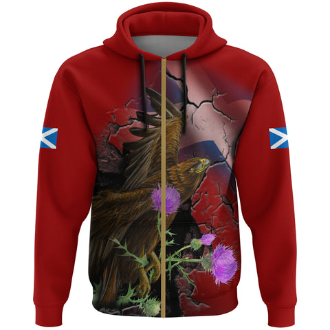 Image of Scotland Hoodie Zip, Eagle Thistle Flag Scotland A14