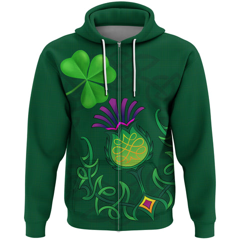 Image of 1stScotland Zip Hoodie - Scottish Happy St Patrick's Day A02