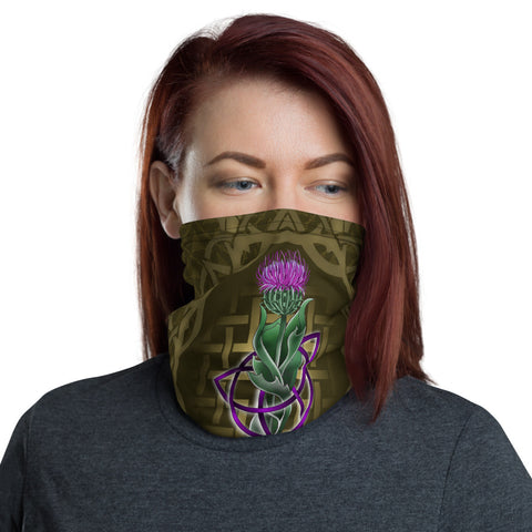 Image of Scotland Neck Gaiter - Thistle Celtic Knot Circle Frame | Love Scotland