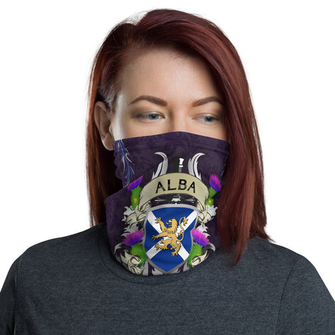 Image of Scotland Neck Gaiter - Scotland Forever Flag Lion Thistle Purple (Alba Gu Brê•ê_th) | Love Scotland