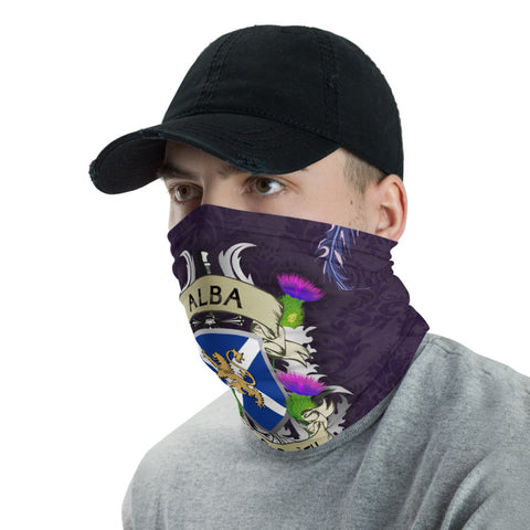 Scotland Neck Gaiter - Scotland Forever Flag Lion Thistle Purple (Alba Gu Brê•ê_th) | Love Scotland