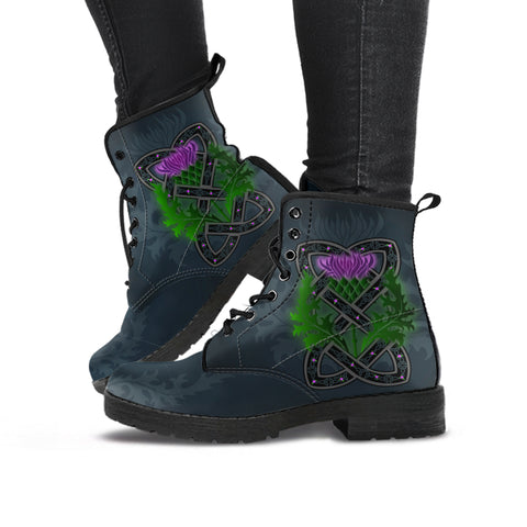 Celtic Myth Thistle Leather Boots | Special Custom Design