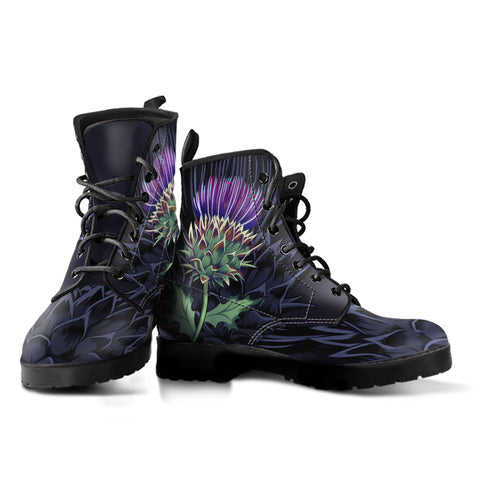 Luxury Purple Thistle - Leather Boots | Love Scotland