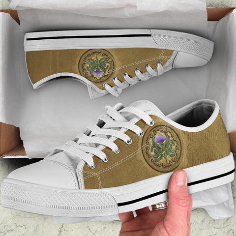 Luxurious Thistle Scottish - Low Top Canvas Shoes | Special Custom Design