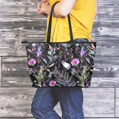 Scotland Dark Thistle - Leather Tote Bag | Custom Design