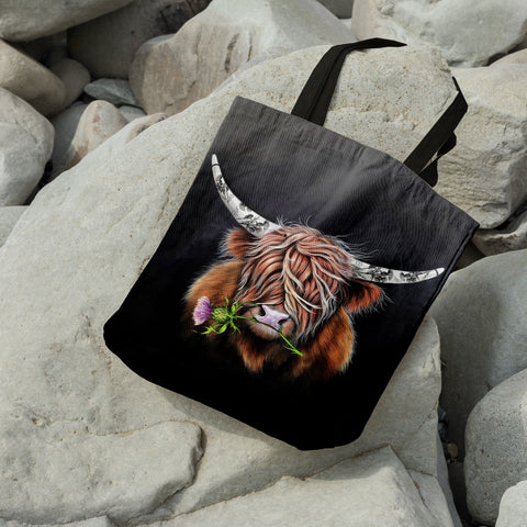 Image of Thistle Highland Cow - Scotland Tote Bags | Special Custom Design