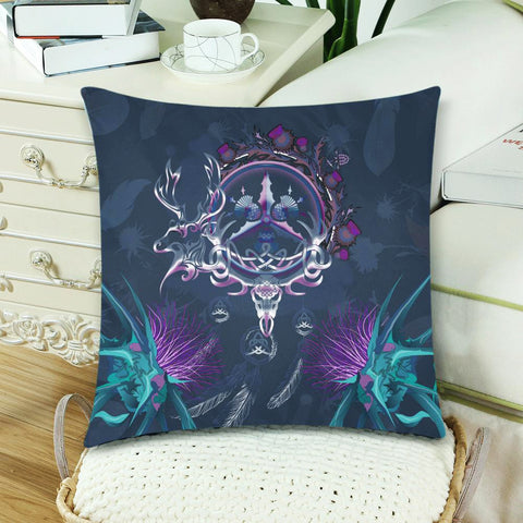 Image of Scottish Zippered Pillow Cases - Red Deer Thistle Celtic Dream Catcher A18