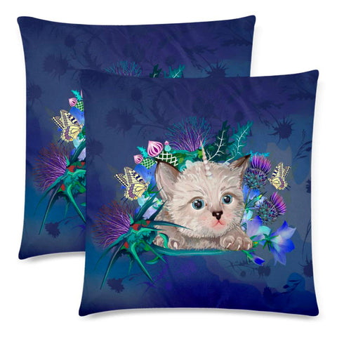 Scotland Zippered Pillow Cases - Scottish Fold Unicorn Horn And Bluebell Thistle