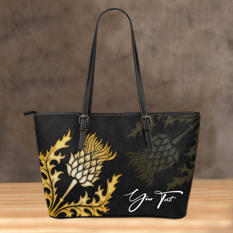 Image of (Custom) Scotland Leather Tote Thistle Gold Special Personal Signature | Love Scotland