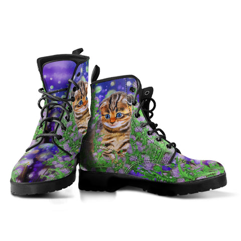 Scottish Fold Cat And Thistle - Leather Boots | HOT Sale