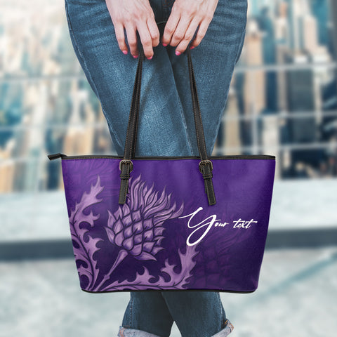 (Custom) 1stScotlad Purple Thistle - Scotland Leather Tote Bag | HOT Sale