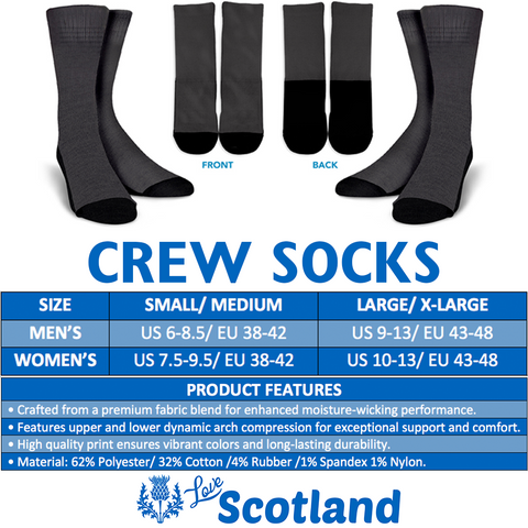 Scottish Thistle Pattern 14 Crew Socks