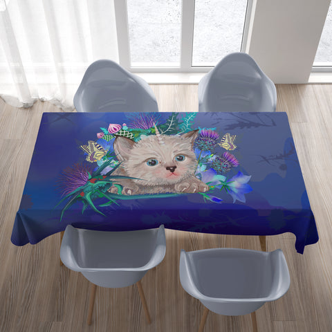 Scotland Tablecloth - Scottish Fold Unicorn Horn And Bluebell Thistle A18