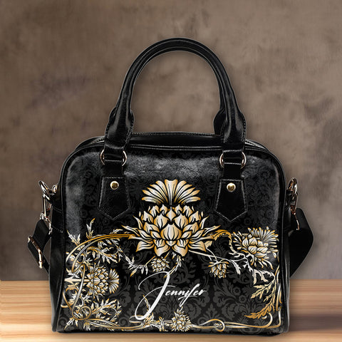 Image of (Custom) Scotland Shoulder Handbag Thistle Gold Personal Signature A24