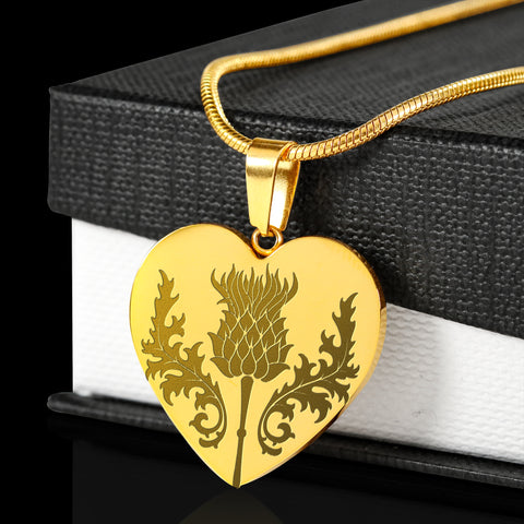 Scottish Thistle Gold-Plated Engraved Necklace | Love Scotland