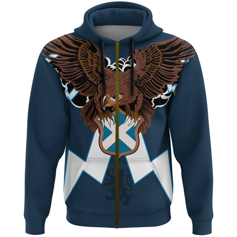 Image of Scotland Zip Hoodie - Scottish Eagle And Lion | Love Scotland