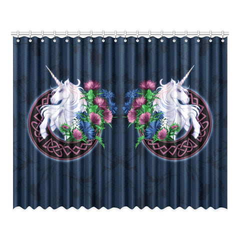 Image of Scotland Window Curtain - Unicorn Thistle And Moon Celtic