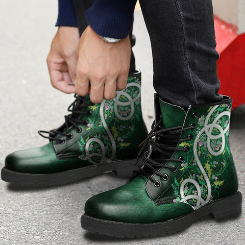 Green Thistle Wreath Leather Boots | High Quality | Women & Men