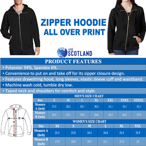 Scotland Zip Hoodie, Scottish Knight and Scottish Rampant Lion Shield A7