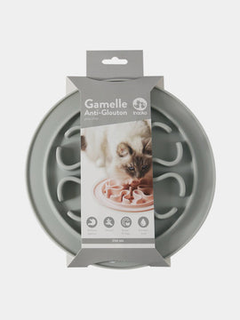 inooko - gamelle antiglouton pour chat gris