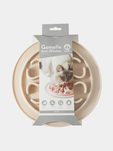 inooko - gamelle antiglouton pour chat sable