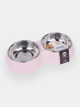 inooko - gamelle double design pour chat rose