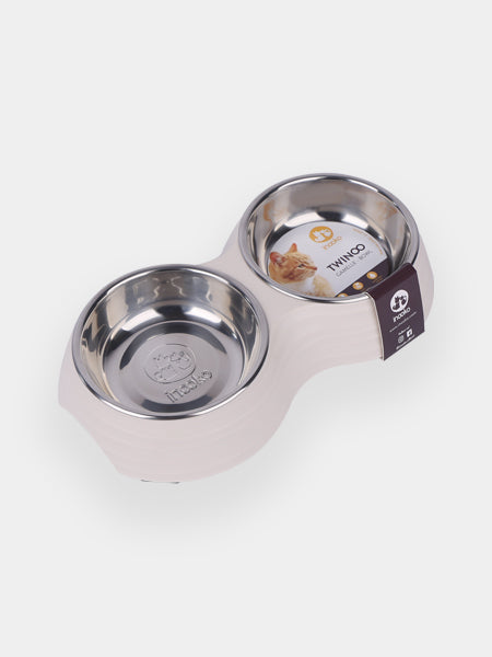 inooko - gamelle double design pour chat sable beige