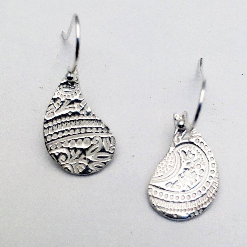 Silver Abstract Pear Earrings