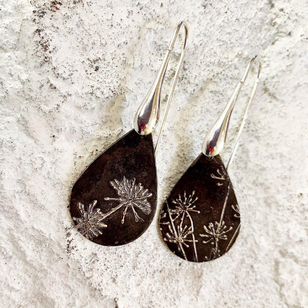 Oxidized Silver Dandelion Earrings-Jewelry > Earrings > Dangle & Drop Earrings-Mechele Anna Jewelry