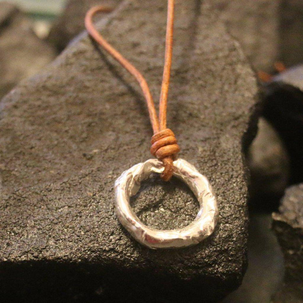 Silver & Leather Eternity Necklace-Jewelry > Necklaces-Mechele Anna Jewelry