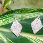 Diamond Silver Swirl Earrings-Earrings-Mechele Anna Jewelry