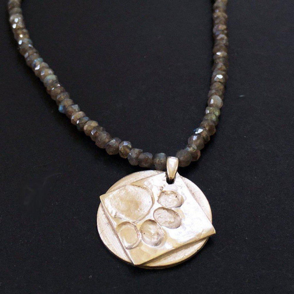 Labradorite Dog Paw Necklace-Jewelry > Necklaces-Mechele Anna Jewelry