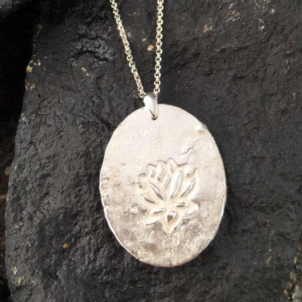 Rough Silver Lotus Necklace