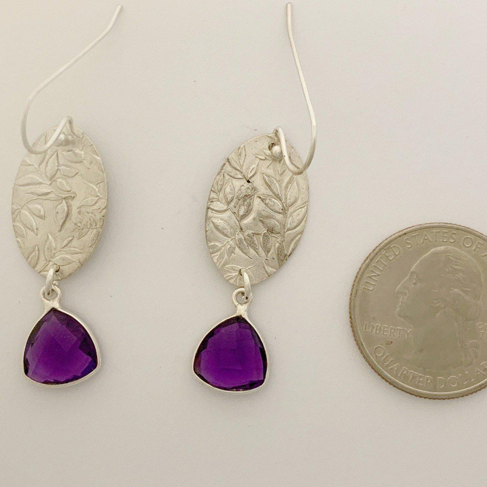 Amethyst Leaf Earrings-Earrings-Mechele Anna Jewelry