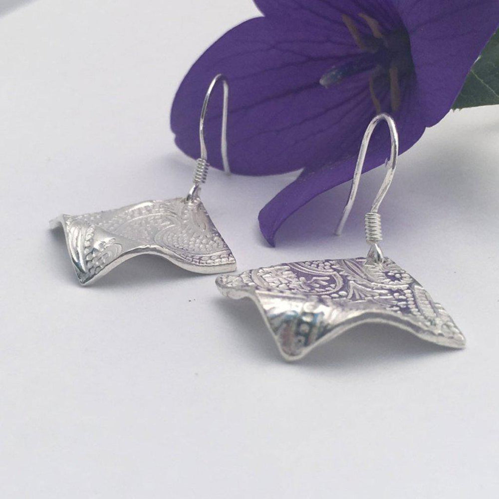 Curved  Paisley Diamond Earrings