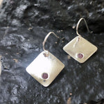 Silver & Raw Ruby Earrings-Jewelry > Earrings > Dangle & Drop Earrings-Mechele Anna Jewelry