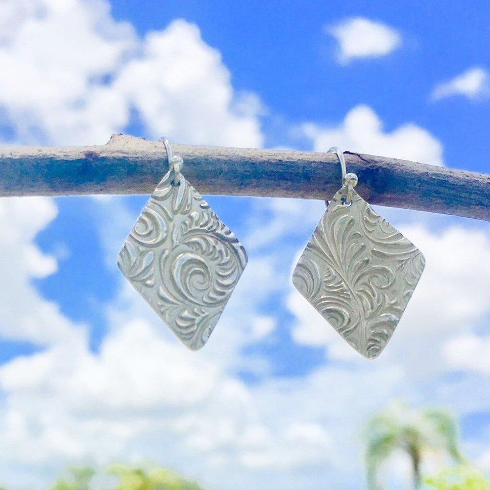 Diamond Silver Swirl Earrings