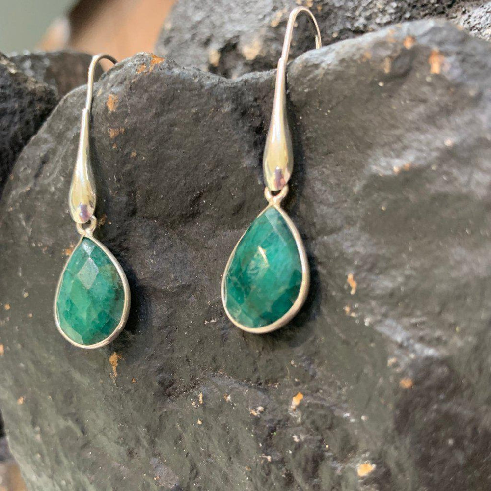 Raw Emerald Earrings-Earrings-Mechele Anna Jewelry