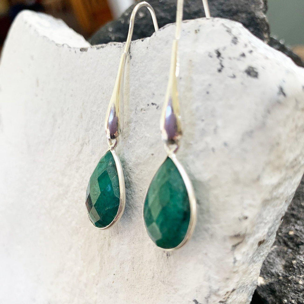 Raw Emerald Earrings
