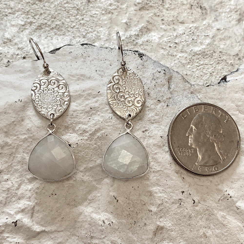 Moonstone & Silver Earrings-Earrings-Mechele Anna Jewelry