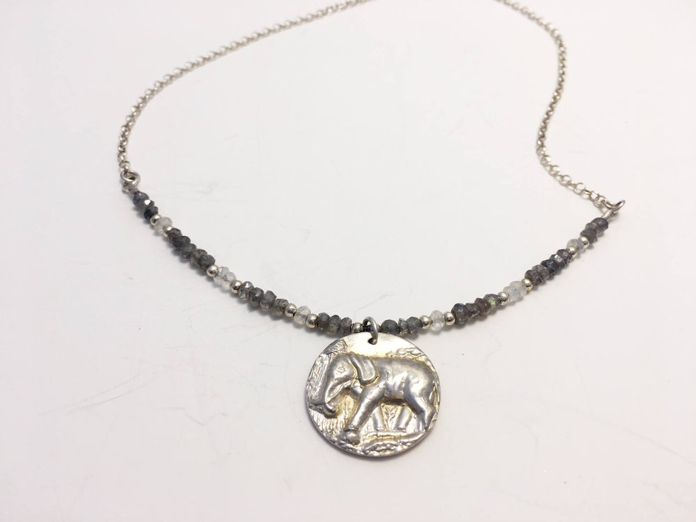 Labradorite Elephant Necklace