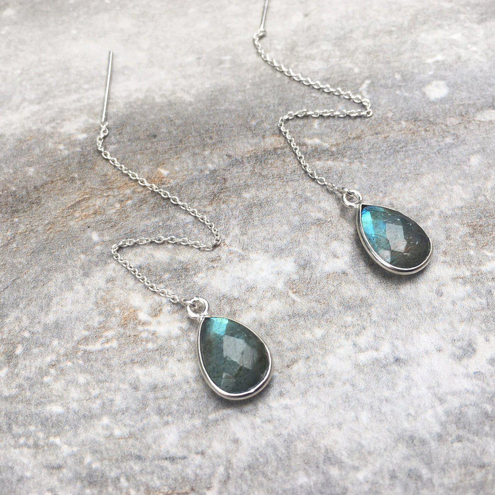 Threader Earrings - Ruby, Sapphire, Emerald, Labradorite, Moonstone-Earrings-Mechele Anna Jewelry
