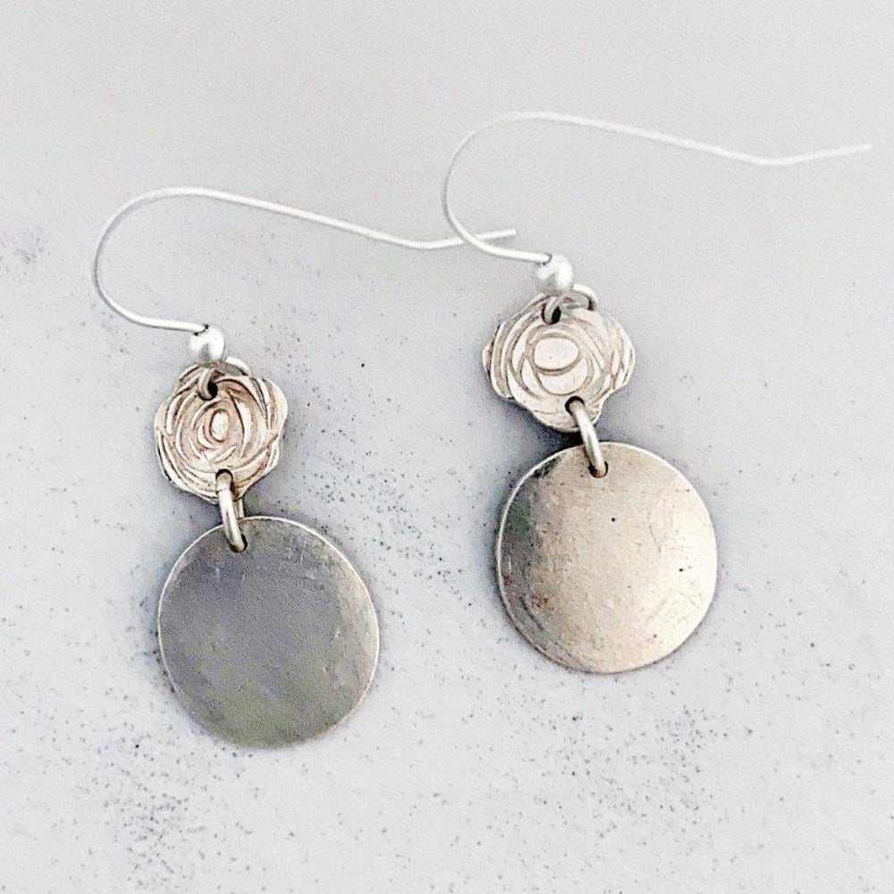 Silver Rose Earrings-Earrings-Mechele Anna Jewelry