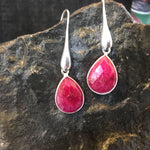 Raw Ruby Earrings-Earrings-Mechele Anna Jewelry