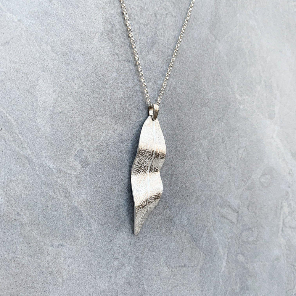Silver Sage Leaf Necklace-Necklaces-Mechele Anna Jewelry