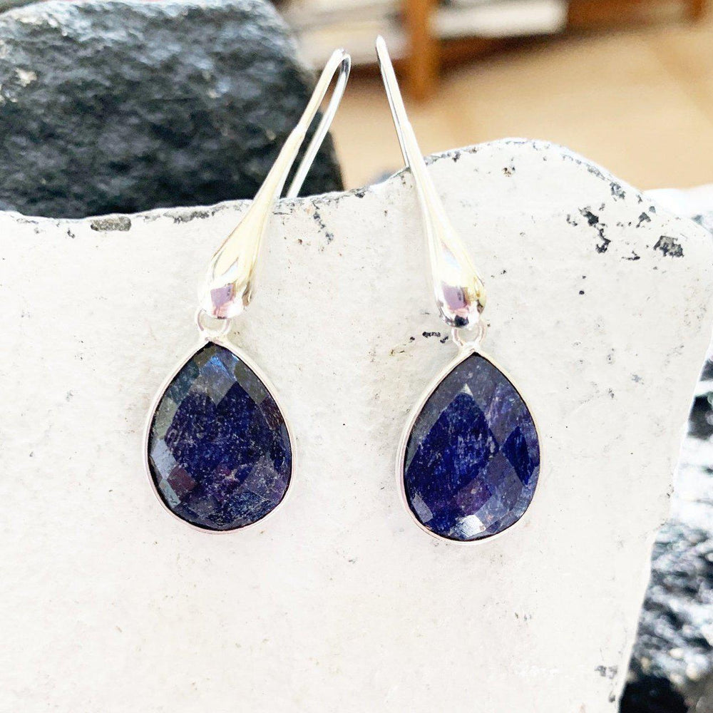 Raw Sapphire Earrings-Earrings-Mechele Anna Jewelry