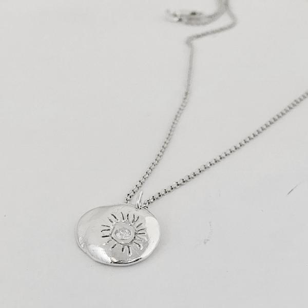 Hand Carved Silver Sun Necklace-Necklaces-Mechele Anna Jewelry