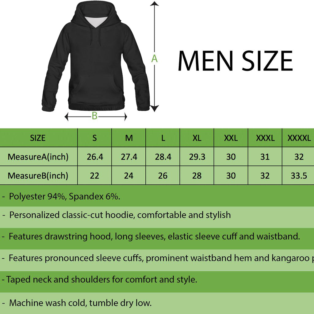 ALL OVER PRINT HOODIES | MEN SIZE CHART | 1stireland.com