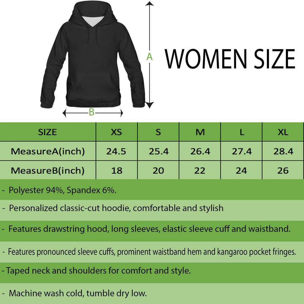 ALL OVER PRINT HOODIES | WOMEN SIZE CHART | 1stireland.com