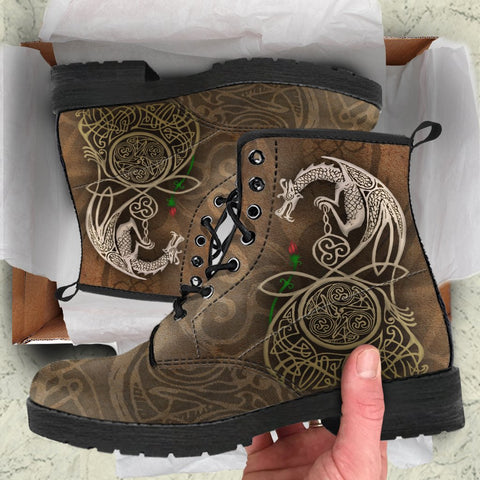 Image of celtic boots, dragon boots, celtic leather boots, dragon leather boots